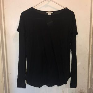New H&M Long Sleeve Black Shirt w/Ruffles